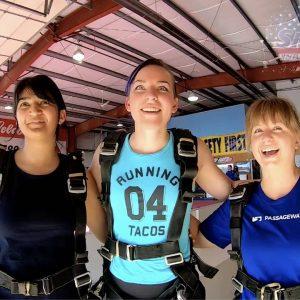 Pathfinders who work together go skydiving together. From L to R: Anjali Kavthekar (QA), Kris Samuel (Design), Alyssa Stetson (Design).