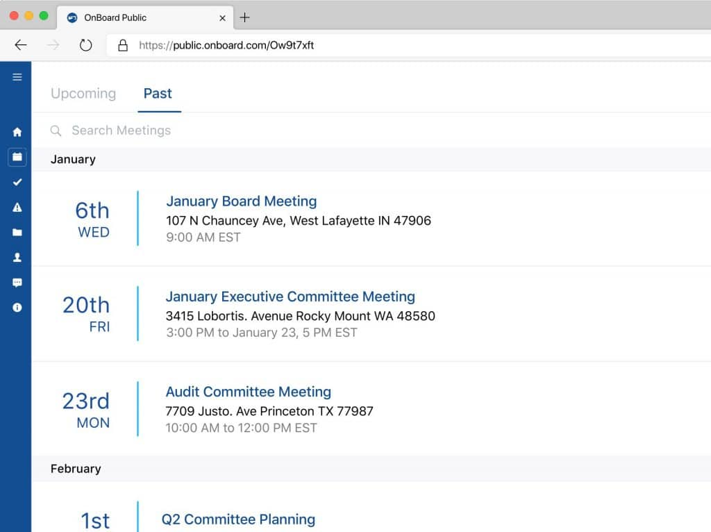 Upcoming Meetings For Website